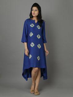 Blue Cotton Silk Bandhej Tunic