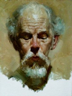"San Francisco Bay Area Oil Painting Portrait Artist - Zimou Tan -- ""Poet"" 12""x16"", oil on canvas board"