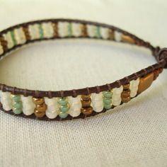 Kit bracelet wrap cuir, perle de rocaille bronze, vert, écru