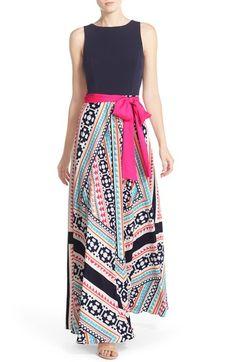Eliza J Jersey & Print Crêpe de Chine Maxi Dress (Regular & Petite) available at #Nordstrom