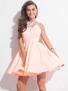A-Line/Princess Sleeveless Halter Short/Mini Satin Dresses