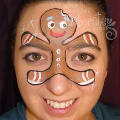DIY Gingerbread Man Face Paint #DIY #Christmas #Winter #FacePainting #Birthdays #Birthday #Parties #Party