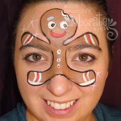 DIY Gingerbread Man Face Paint #DIY #Christmas #Winter #FacePainting #Birthdays #Birthday #Parties #Party