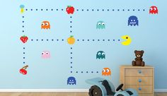 Pacman Decals, Atari Wall Decals, Pac-man Wall Murals for Kids Room. Easy Peel & Stick full color, removable and reusable material.