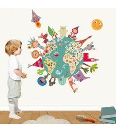 Vinilo infantil bola del mundo feliz