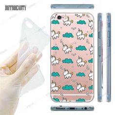 Cute Unicorn Cartoon Transparent Ultra Thin Flexible Soft Silicone Phone Case Back Cover For iPhone 5S 6 6S 7 6Plus For Samsung