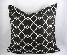 Decorative Pillow Cushion Cover - Accent Pillow - Throw Pillow - Chippendale Fretwork Onyx Black and Stone - 18 x 18 Inch - Indoor Outdoor. $29.00, via Etsy.