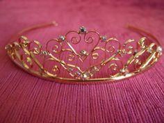 Gold diamante AB crystal filligree heart Tiara / Headband / Head dress / Bridal Tiara / Special Occasion / WeddingTiara / Prom Tiara