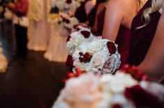 Bridal bouquet Cranberry white flowers Gold champagne cranberry ...