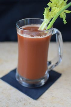 """This healthy """"V8"""" juice is made with 10 organic ingredients: tomatoes, celery, onions, garlic, red pepper, spinach, cilantro, lemon, carrots, and cayenne."""