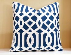 Welted Pillow has Schumacher Navy Trellis fabric on BOTH sides. Pillow in photo is 20 X Pillow cover has a zipper closure and finished inside edges. Blue Pillows, Throw Pillows, Blue And White Living Room, Sunroom Furniture, Modern Pillows, Trellis, Fabric Design, Printing On Fabric, Master Bedroom