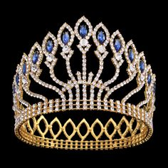 FUMUD Clear Austrian Crystal Rhinestone Tiara Round Crowns Hair Jewelry Headband