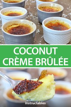 This coconut crème brûlée perfectly merges these flavors for a smooth and satisfying custard with a perfectly burnt sugar top. This coconut crème brûlée perfectly merges these flavors for a smooth and satisfying custard with a perfectly burnt sugar top. Köstliche Desserts, Delicious Desserts, Dessert Recipes, Yummy Food, Plated Desserts, Side Dish Recipes, My Recipes, Cooking Recipes, Coconut Milk Recipes