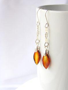 Let these fall from your ears. Mexican amber earrings.