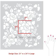 Spring Rose Blossoms Wall Stencil
