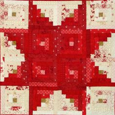 = tutorial = Star Log Cabin quilt by Marlene Biles for Moda Bakeshop, featured at Quilt Inspiration: Free pattern day : Christmas Part 3 Star Quilt Blocks, Star Quilts, Mini Quilts, Édredons Cabin Log, Log Cabin Quilts, Log Cabins, Rustic Cabins, Christmas Quilt Patterns, Star Quilt Patterns