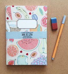 DIN A5 Notizbuch mit Obstdruck / art printed notebooks, blank paper, fruits by Anadelima via DaWanda.com