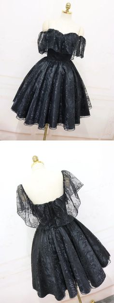 A-Line Off The Shoulder Short Black Lace Homecoming Dress 2018 Cute Prom Dresses