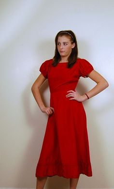 Red 1950s Dress with Ruffle by CheekyVintageCloset on Etsy, $52.00