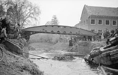 A bridge being layed by a Churchill bridgelayer across the river at Moergestel, 26 October 1944 The River, Churchill, Diorama, D Day Normandy, Operation Market Garden, Royal Engineers, Ww2 Pictures, Armored Fighting Vehicle, British Army