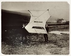 Ludwig Wittgenstein and William Eccles at the kite-flying station in Glossop, England, (1908)