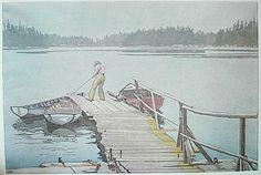 Sharp's Dock, Pender Harbour, 1952, Walter J. Phillips, colour woodcut, 23.7 x 35.7 cm., British Columbia, Canada