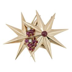 1940s Cartier Double Star Clip Brooch