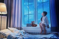 Mother reading a book, girl sleeping in the bed, nightmare for children Christmas Birthday Party, Girl Sleeping, Book Girl, Miraculous Ladybug, Light Decorations, Wall Decor, Neon Signs, Windows, Shapes