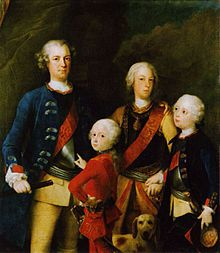 Frederick William 1 of Prussia married his first cousin Sophia Dorothea of Hanover, George II's younger sister (daughter of his uncle, King George I of Great Britain and Sophia Dorothea of Celle) on 28 November 1706. They had fourteen children, including these sons,  1737