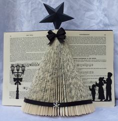 Picture of Christmas Tree Folded Book Art-No tutorial. Just another tree idea.