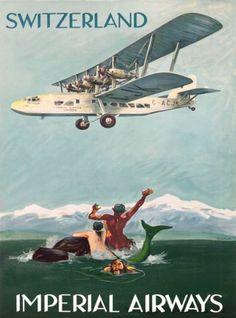 Switzerland-Mermaid-Merman-Imperial-Airways-Vintage-Travel-Advertisement-Poster