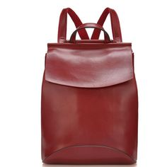 European and American Style Fashionable Large and Soft Cow Split Leather Backpacks for Ladies in Burgundy
