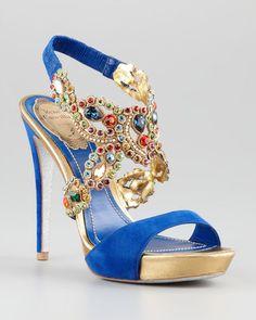 Rene Caovilla Jeweled Anklewrap Platform Sandal