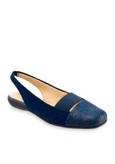 Trotters Navy Suede Sarina Slingback