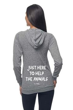 5fc83c759f9d Unisex Eco Tri Grey Organic Cotton   RPET Lightweight Zip Up Hoodie - Just  Here To Help The Animals - XS-2XL