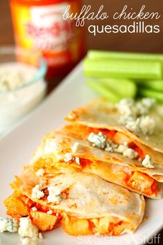 Buffalo Chicken Quesadillas from SixSistersStuff.com.  One of the easiest meals I've ever made! #sixsistersstuff