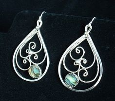 Sterling Silver Filigree Earrings with Natural Abalone Shell ,dangle ,statement