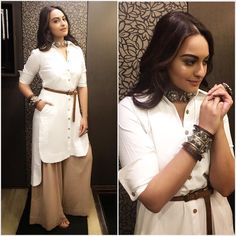 Sonakshi Sinha perfectly nails the bohemian beauty look while she attended Pro Kabbadi League. She opted for a Sohaya's high-low  kurta shirt and palazzo pants. She upgraded the outfit with simple and sleek leather belt, which instantly made the outfit look sharp and put-together. Her accessory game was strong with Amrapali statement silver choker, cuff …