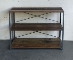 Topanga Bookcase - hand made from reclaimed douglas fir and recycled iron/steel. 100% sustainable.  www.blakeavenue.com