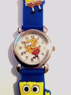 New Blue Spongebob Silicone Girls/Boys Watch 3-D  | eBay