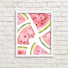 Watercolor Watermelon Slices 8x10 Printable Wall Art, Watermelon Print, Summer Print, Fruit Print, Picnic Print, Kitchen Decor, Food Decor