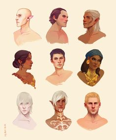 "kauriart: "" Dragon Age Portraits Masterpost This series started as a way to get me comfortable illustrating different skin tones & to build up palettes for all the characters. But I'm finding myself really digging doing the quick portrait..."