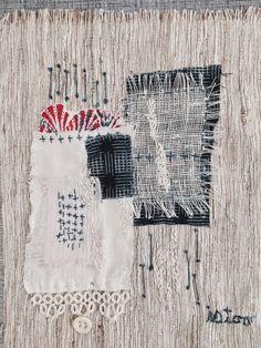 Mixed media textile art by Amy Sunshine featuring vintage Japanese fabrics and sashiko stitching on handwoven linen and raw silk. www.amysunshinedesigns.com #boro #sashiko