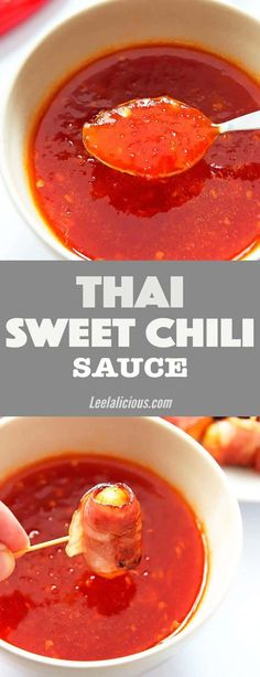This easy homemade Thai sweet chili sauce recipe is naturally sweetened and so much better than anything from a bottle. It is gluten free, paleo, clean eating and can be made vegan. Uses include baked chicken, fish like salmon or as delicious condiment and dipping sauce. #Thai #chilisauce #sweetchili #condiment #dippingsauce Garlic | Appetizers | Red peppers | Healthy | Dip | Honey | Maple Syrup | Without Cornstarch | Best | Vinegar