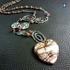 ♥ Amazing Long Coffee Agate Heart Pendant &  Silver Plated Spiral Necklace 34in.