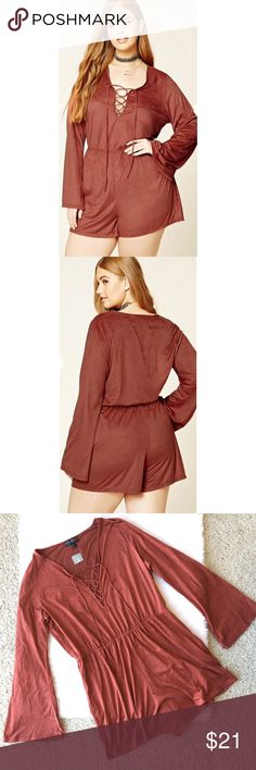 NEW Forever 21 Plus Size Rust Boho Suede Romper Forever 21 Plus Size 0X Faux Suede Romper New With Tags Rust  Forever 21+- A soft knit faux suede romper featuring a plunging neck with a lace-up detail, long bell sleeves, and an elasticized waist. Content + Care - 87% polyester, 13% spandex - Machine wash cold Please see photos for approximate measurements.  Everything comes from a pet and smoke free home. Forever 21 Dresses