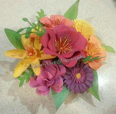 "Close to My Heart cricut cartridge ""Flower Market"" Hand Painted paper flowers using CTMH watercolour paints."