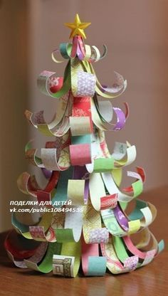 How to Make a Christmas Tree from Paper Scraps - Diy Christmas Tree- repurpose your Christmas greetings cards - Diy Christmas Tree, Christmas Crafts For Kids, Christmas Projects, All Things Christmas, Christmas Tree Decorations, Holiday Crafts, Christmas Holidays, Christmas Ornaments, Christmas Paper