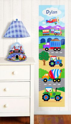 Personalized Trains Planes and Trucks Growth Chart - Sticks to most surfaces, even textures! Easy to apply and easy to remove, no tools needed.