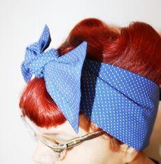 Bow hair tie Vintage Inspired Head Scarf Blue with by OhHoneyHush
